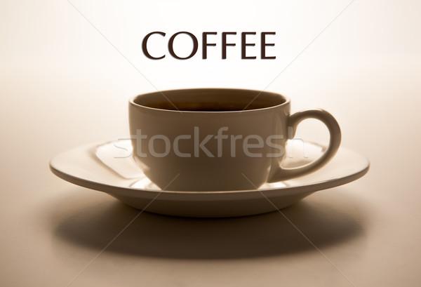 üveg csésze csészealj közelkép cím kávé Stock fotó © mizar_21984