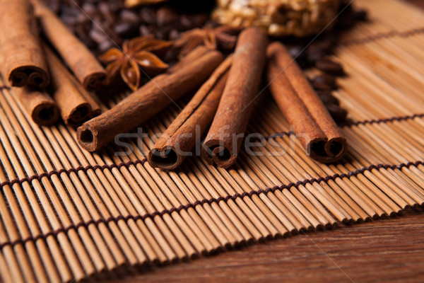 roasted coffee and cinnamon sticks Stock photo © mizar_21984