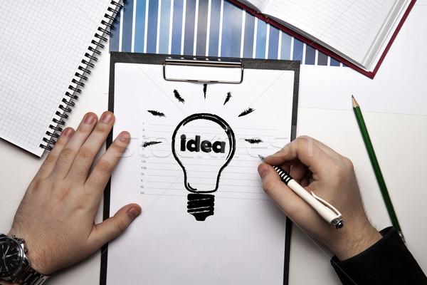 человека рук Идея икона бумаги Сток-фото © mizar_21984