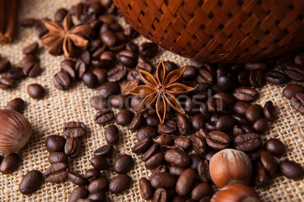 roasted coffee beans and star anise Stock photo © mizar_21984