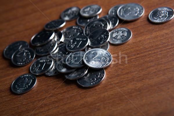 Köteg orosz érmék fából készült felület közelkép Stock fotó © mizar_21984