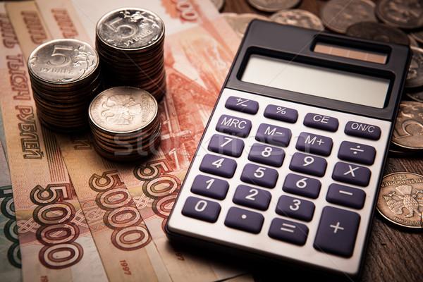 Orosz számológép közelkép pénz pénz érmék Stock fotó © mizar_21984