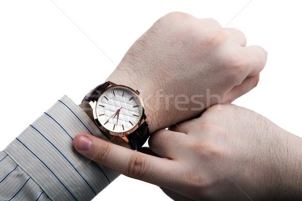 Homem olhando tempo isolado ver Foto stock © mizar_21984