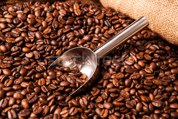 roasted coffee beans with scoop in bag Stock photo © mizar_21984