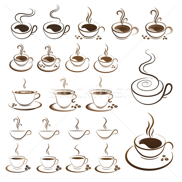 clipart set hot coffee cup vector  Stock photo © mizar_21984