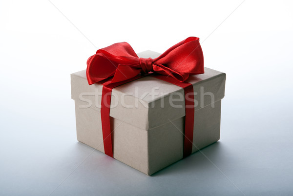 one large writing-paper gift box on a white Stock photo © mizar_21984