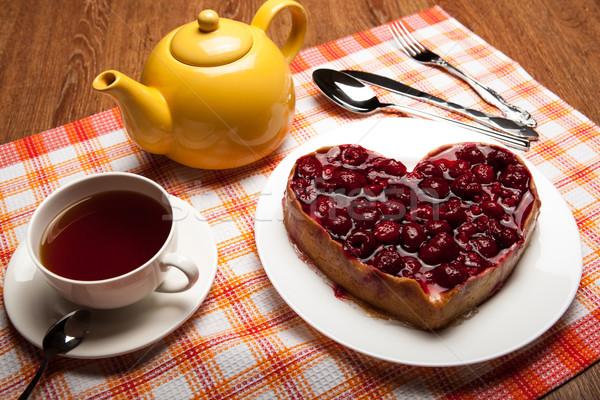 Forma café da manhã framboesa bolo prato copo Foto stock © mizar_21984