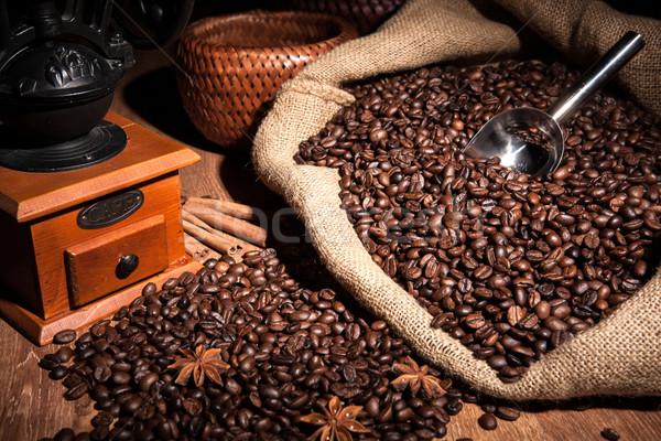Stock fotó: Kávé · csendélet · fa · kávé · malom · táska