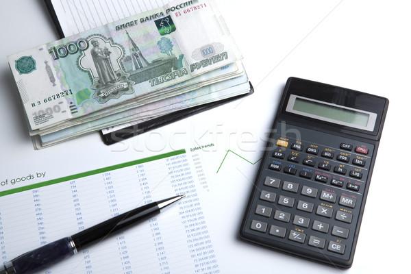 üzlet bankjegyek számológép közelkép papír toll Stock fotó © mizar_21984