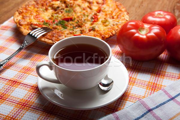 Fincan çay pizza domates içmek Stok fotoğraf © mizar_21984