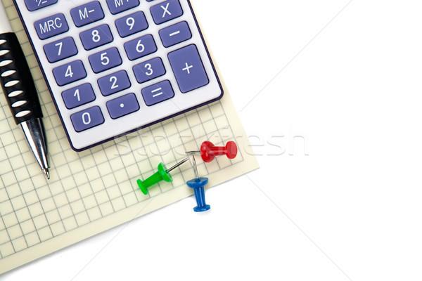 Uno grande calculadora papelería blanco mesa Foto stock © mizar_21984