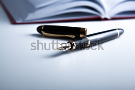 Stockfoto: Dagboek · vulpen · witte · pen · notebook