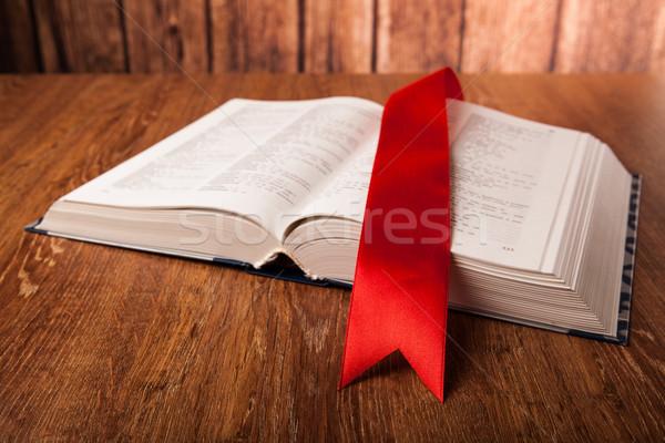 Groot boek bladwijzer hout school onderwijs Stockfoto © mizar_21984
