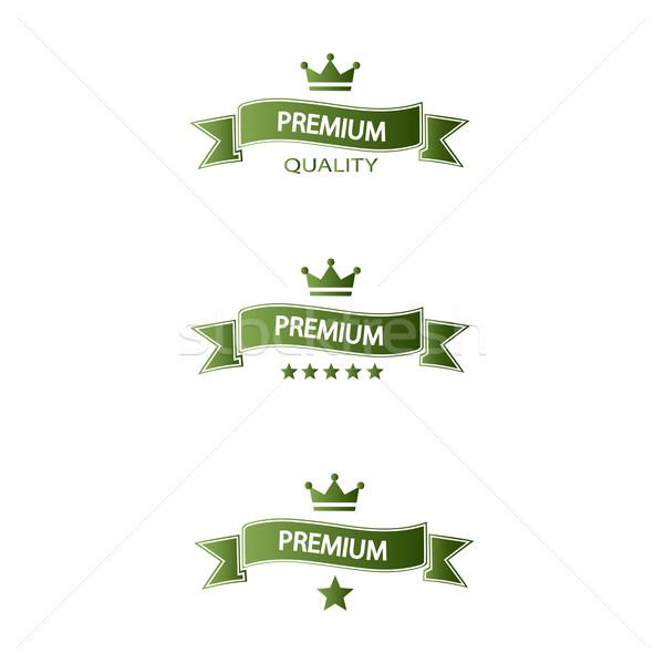 ストックフォト: セット · 緑 · プレミアム · 品質 · 白