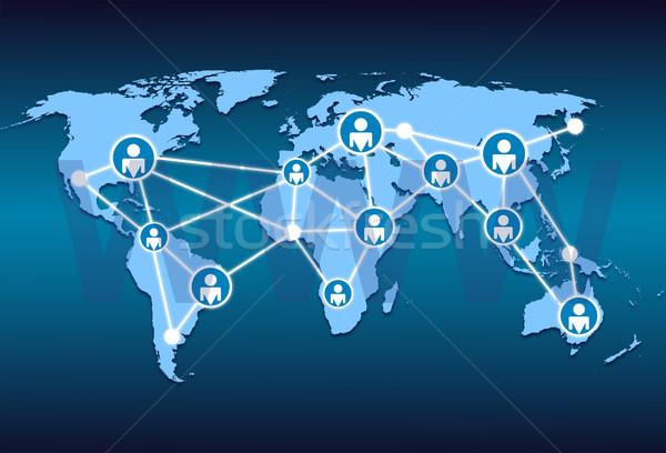 Stock fotó: Világtérkép · világháló · hálózat · kapcsolat · üzlet · térkép