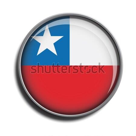 Zászló ikon webes gomb Chile izolált fehér Stock fotó © mizar_21984