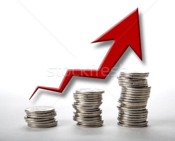 stacks of coins with diagram Stock photo © mizar_21984