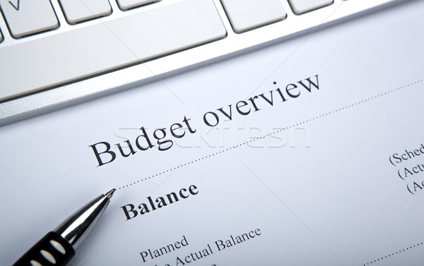 document with title budget overview and keyboard Stock photo © mizar_21984