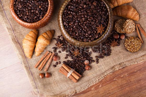 Stock fotó: Pörkölt · kávé · bambusz · kosár · csendélet · kávé