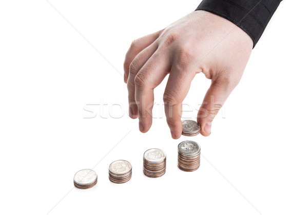 stack of coins and human hand Stock photo © mizar_21984
