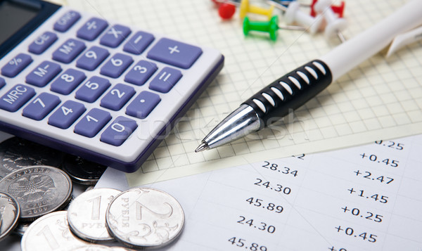 Russo calculadora caneta dígitos negócio Foto stock © mizar_21984
