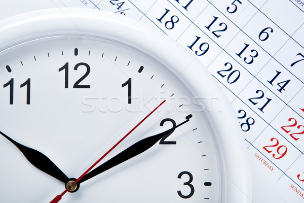 clock face and calendar sheet with numbers Stock photo © mizar_21984