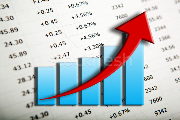 chart and arrow on a number background in progress Stock photo © mizar_21984