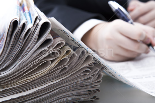 stack of newspapers in office close-up Stock photo © mizar_21984