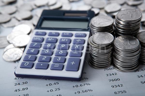 Foto stock: Russo · calculadora · mercado · trabalho · numerário
