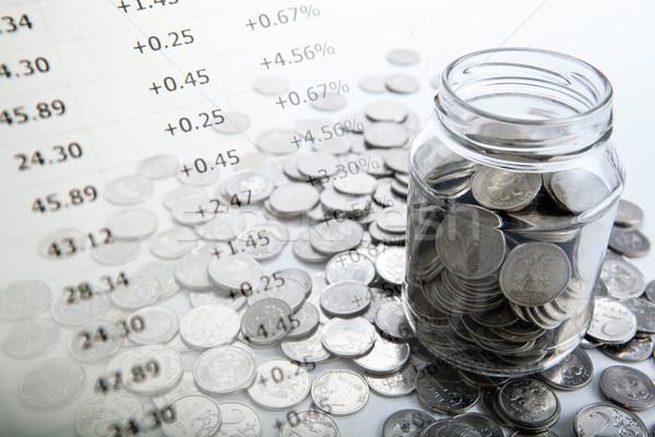 Bank érmék közelkép pénzügy piac állás Stock fotó © mizar_21984