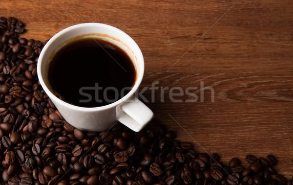 Кубок черный кофе кофе бобов столе Сток-фото © mizar_21984