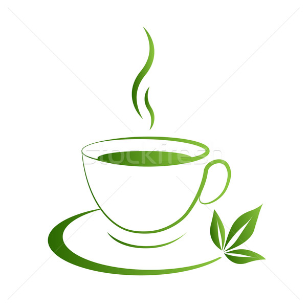 Stock photo: Tea cup icon green grad