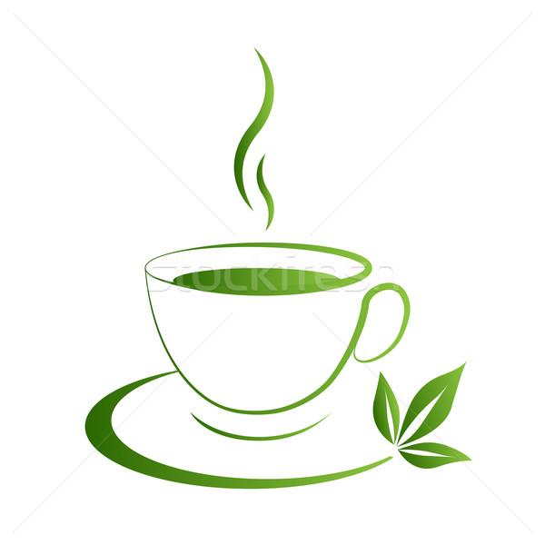 Teáscsésze ikon zöld étel levél vásárlás Stock fotó © mizar_21984