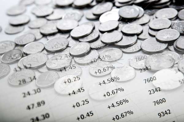 Stock fotó: Köteg · érmék · közelkép · pénzügy · bank · piac