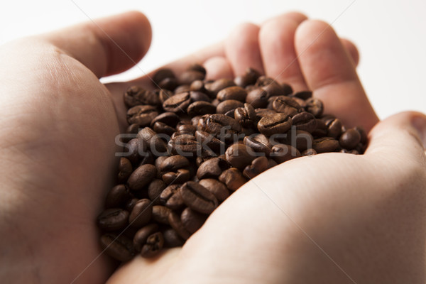 roasted coffee beans in the palms of men Stock photo © mizar_21984