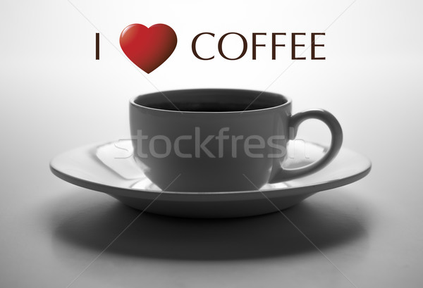 glass cup and saucer closeup with title I love coffee Stock photo © mizar_21984