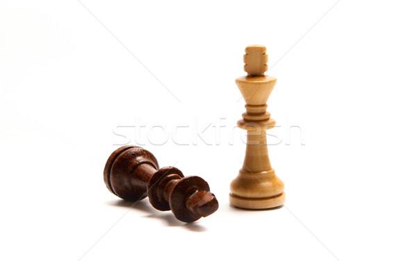 Sakkfigurák szett fehér sakk játék vonal Stock fotó © mizar_21984