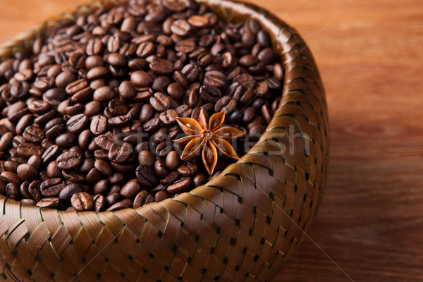 roasted coffee beans in a bamboo basket Stock photo © mizar_21984