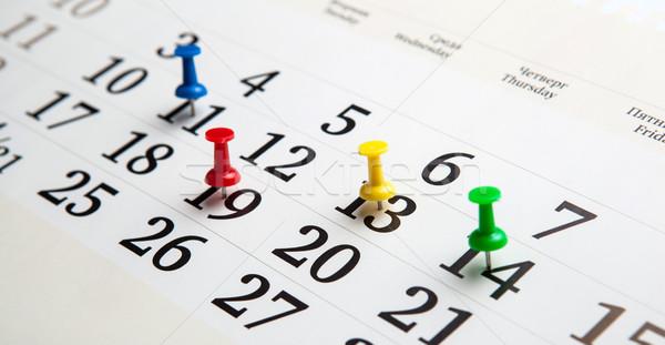 Nagy fal naptár tűk szám közelkép Stock fotó © mizar_21984
