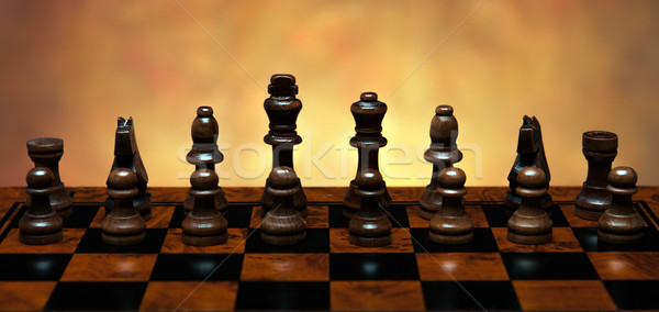 chess game with pieces on the table Stock photo © mizar_21984