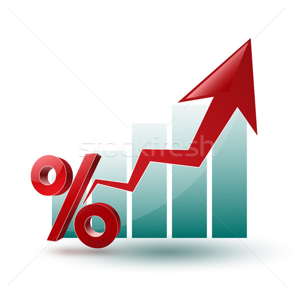 chart and arrow on a white background in regress Stock photo © mizar_21984