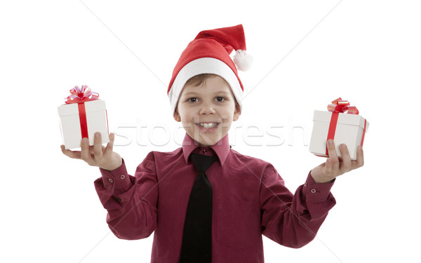 portrait of a little boy with gift boxes Stock photo © mizar_21984