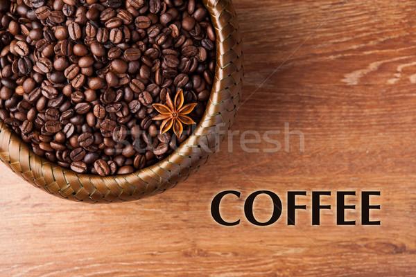 コーヒー豆 竹 バスケット タイトル ストックフォト © mizar_21984