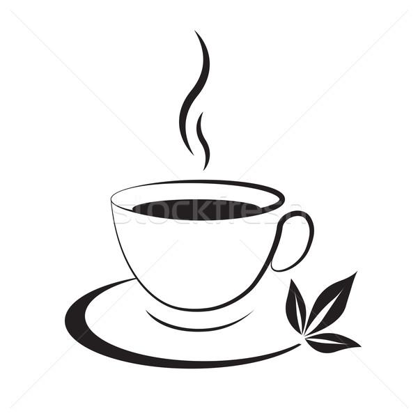 Teáscsésze ikon fekete feketefehér étel levél Stock fotó © mizar_21984