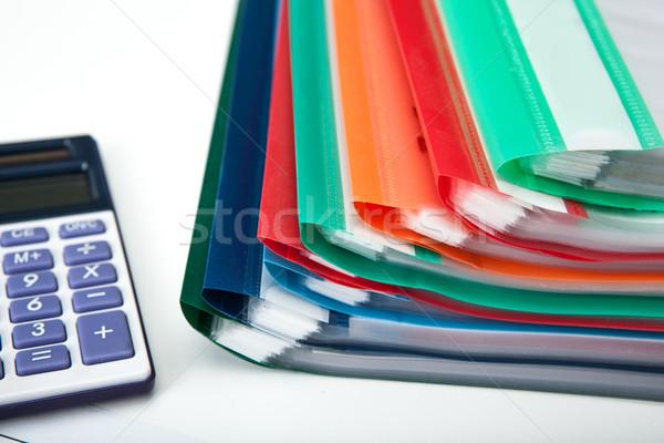 üzlet irodai munka mappák számológép papír munka Stock fotó © mizar_21984