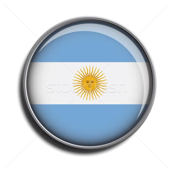 Zászló ikon webes gomb Argentína izolált fehér Stock fotó © mizar_21984