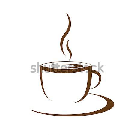 Hot koffiekopje vector witte koffie achtergrond Stockfoto © mizar_21984