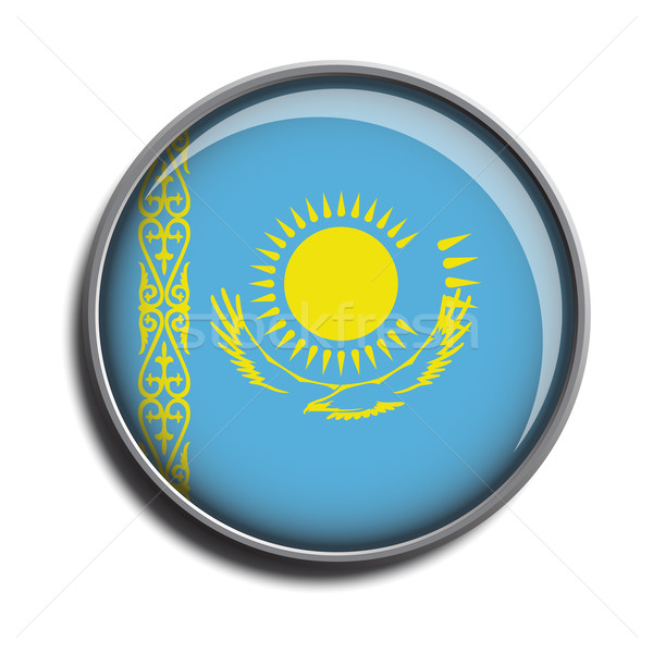 Bandiera icona Kazakistan isolato bianco Foto d'archivio © mizar_21984