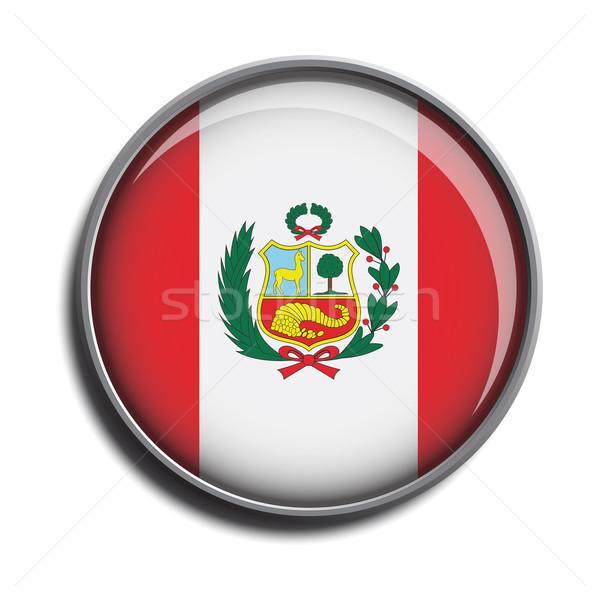 flag icon web button peru Stock photo © mizar_21984