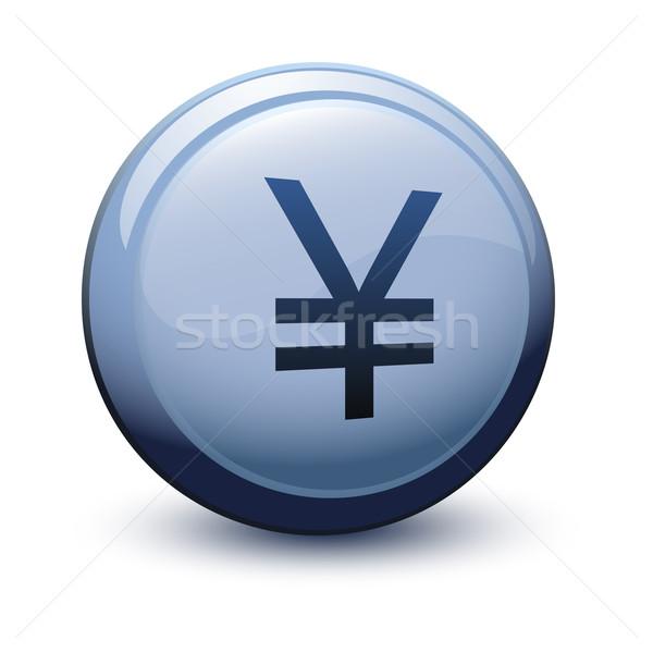 Düğme 3D yen gölge beyaz iş Stok fotoğraf © mizar_21984